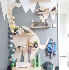 How cute are these animal shaped shelf to decorate a kid's room? Boys Dinosaur Bedroom, Dinosaur Room Decor, Boy Toddler Bedroom, Boys Bedroom Decor, Baby Boy Rooms, Dinosaur Kids Room, Dinosaur Dinosaur, Childrens Bedrooms Boys, Kids Bedroom Boys