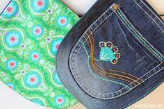 stitchydoo: Mount Denim ade! | Handbestickte Küchenhelferlein aus Jeans - Jeans-Recycling Ofenhandschuhe und Topflappen