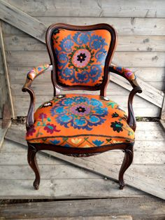 bohemian styled chair - this could be used as a model for a painted upcycled chair