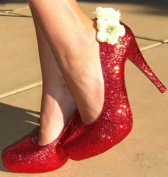 The Showgirl Glitter Heel in Red Glamour by TheShowgirlShoeroom, $160.00.    Decorated by hand and oh-so-sparkly!