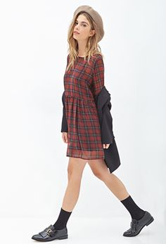 Plaid Chiffon Babydoll Dress | FOREVER21 - 2000120648