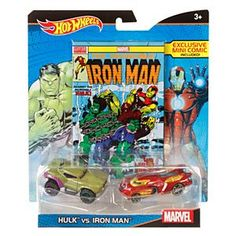 Check out the  Hot Wheels® Marvel® Hulk™ vs. Iron Man™ Character Car 2-Pack with Mini Comic (DJC99) at the official Hot Wheels website. Explore the world of Hot Wheels now!