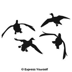 Flying Duck Silhouette | Jukin'' Four Ducks Waterfowl Decal