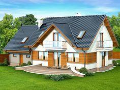 DOM.PL™ - Projekt domu DN KARMELITA GOLD 2M CE - DOM PC1-56 - gotowy koszt budowy Design Case, Bungalow, House Plans, Sweet Home, Villa, Exterior, House Design, Cabin, House Styles