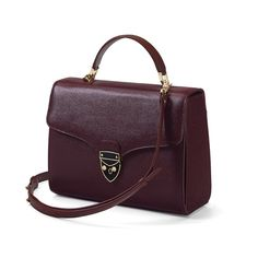 Mayfair Bag in Burgundy Saffiano from Aspinal of London