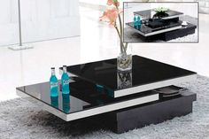 Black Glass Swivel Coffee table BM390 | Contemporary