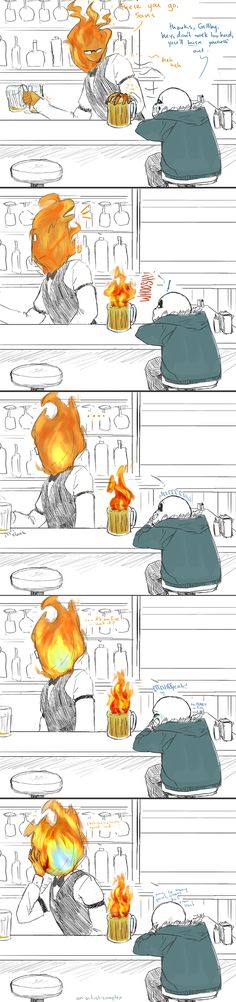 Undertale Grillby and Sans; hot beverage by an-artist-complex
