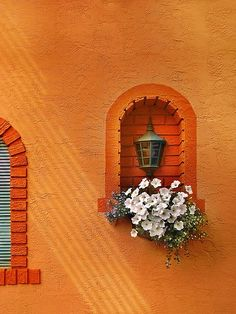 Burnt Orange stucco wall and an arched window with flowers.