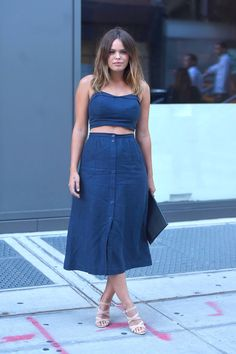 Denim, but not as you know it: summer co-ord worn by total babe Atlanta de Cadenet at the People's Style Watch party in New York.