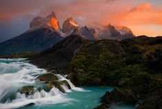 The Cuernos and Paine River at sunrise. Torres del Paine National Park, Chile.