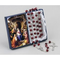 Christmas Novena Card w/Ruby Red Rosary.  Great for gift giving. #CatholicCompany