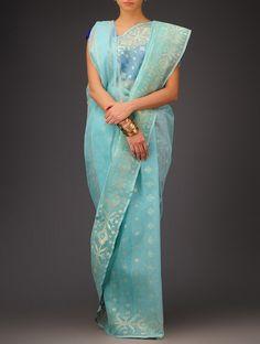 Buy Sky Blue Cotton Jamdani Saree Sarees Woven Wondrous Ethereal Dhakai Online at Jaypore.com