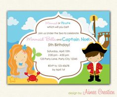 Mermaid and Pirates Birthday Invitation PRINTABLE - DIY Party for Boys and Girls Personalized (Twin / Siblings / Joint). $12.00, via Etsy.