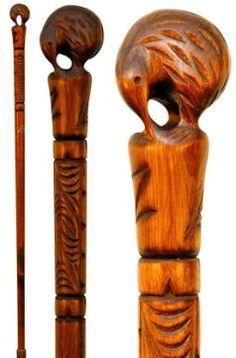 Carved walking sticks