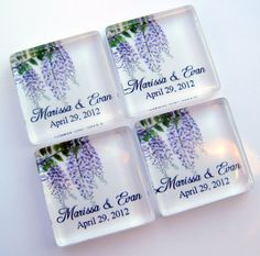 Wisteria Wedding Favor Magnets  One Inch by StuckTogetherMagnets, $87.50