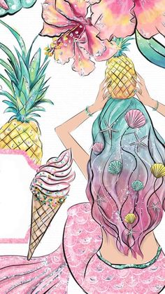Wallpaper Disney Backgrounds The Little Mermaid Mermaid Wallpaper Backgrounds, Unicornios Wallpaper, Mermaid Wallpapers, Summer Wallpaper, Cute Wallpaper Backgrounds, Cute Wallpapers, Unicorns And Mermaids, Mermaids And Mermen, Mermaid Drawings