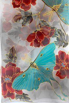 Hand Painted Silk Shawl Japan Scarf Kimono Silk Scarf Luna