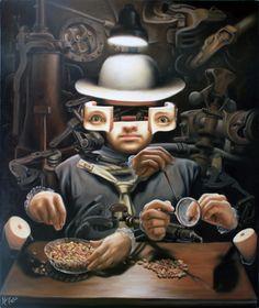 'El contador' , made by: José Luis López Galván - Painting (Human robot to Check Peanuts)