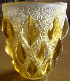Rene Lalique Rampillon Vase: 5 inch tall rich yellow amber glass with great wheel-cut signature in excellent condition.