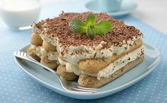 Picture of Tiramisu on a blue plate stock photo, images and stock photography. Desserts Sains, Nutrition, Blue Plates, Healthy Desserts, Vegan Recipes, Vegan Food, Cookies, Ethnic Recipes, Tan Solo