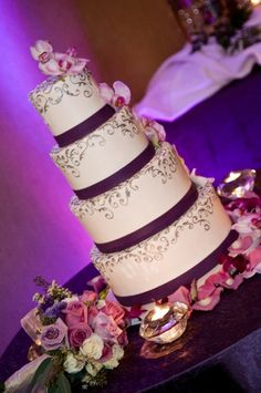 Silver and Purple Wedding cake | ... Post :Purple Custom Unique Modern And Traditional Wedding Cake Designs