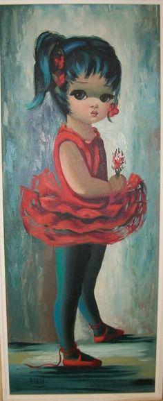 Red Ballerina by Eden Big Eyes Margaret Keane, Keane Big Eyes, Eden Artist, Big Eyes Paintings, Quirky Decor, Retro Kids, Sad Eyes, Ballet, Masks Art
