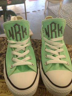 Monogrammed Chuck Taylors! You can bring them into our store or ship them to us and we can do the monogramming #dixielandmonogram #monogram