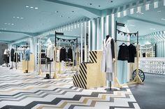 Nendo's Women's Department in Japanese Store - Design Milk Design Blog, Store Design, Visual Merchandising, Nendo Design, Japanese Store, Hat Stores, Retail Interior, Retail Space, Shop Interiors