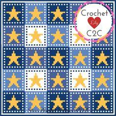 Stars blanket - pattern - blanket - crochet pattern - Baby pattern - afghan - graph - Corner to corner - Crochet star Crochet C2c, C2c Crochet Blanket, Crochet Kids Hats, Crochet Stars, Crochet Blanket Patterns, Double Crochet, Crochet Blankets, Crochet Baby, Star Patterns