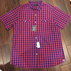 Men's shirt Men's short sleeve button up shirt (Red and Navy) Cremieux Tops Button Down Shirts