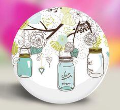 Bridesmaid Gifts - Pocket Mirror or Magnet - Mason Jar In Green & Blue on Etsy, $3.00