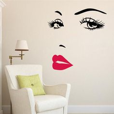 Cheap bedroom decor, Buy Quality home decor directly from China eyes wall stickers Suppliers: sexy girl lip eyes wall stickers living bedroom decoration diy vinyl adesivo de paredes home decals mural art poster home decor Wall Stickers Red, Removable Wall Stickers, Vinyl Wall Decals, Vinyl Art, Home Living Room, Living Room Decor, Kitchen Living, Room Kitchen, Living Area