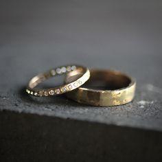 Diamond Eternity Gold 14k - Wedding Band Set by VenaAmorisJewelry on Etsy
