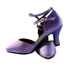 Purple glitter ballroom dance shoes