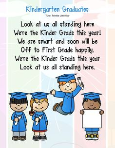 Kindergarten graduation or end-of-year program songs: Free posters – Kindergarten Kiosk Kindergarten Graduation Poems, Kindergarten Poems, Preschool Poems, Preschool Activities, Free Posters, Graduation Theme, Graduation Ideas, Pre K Graduation Songs, Graduation Photoshoot