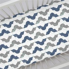 Denim and Gray Modern Quatrefoil Crib Sheet