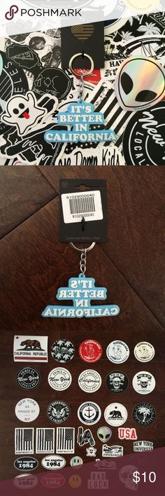 "BNWT Brandy Melville Keychain + Sticker Bundle Includes 1 BNWT rubber keychain that says ""It's Better in California"". You also get to pick any 5 stickers shown in the 3rd picture to be included with your purchase. If you want the keychain separately I can make a listing for you for $8. I already have a listing for 5 stickers in my closet if you just want stickers.   🌸 I only sell on Posh 🌸 I don't trade 🌸 My price is firm. I am not accepting any offers on this item. Brandy Melville…"