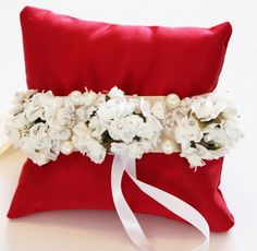Red Pillow Ring for Dogs, Ivory White Flowers on Red Pillow, Wedding Dog Accessory, Ring Bearer Pillow