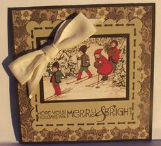 Vintage design. Image from Nice Crane Designs. Cotton ribbon & DP Stampin Up. Sentiment: Recollections.