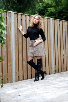 Leather Skirt OTK boots outfit