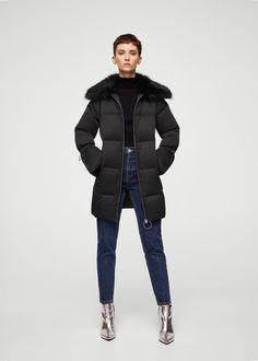 Faux-fur quilted coat | MANGO