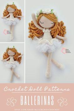 Crochet Doll Pattern, 14,5 inches - 37cm Ballerina, Fairy Amigurumi Doll Pattern, Ballerina Skirt, Tutu Diy Flower Flower Fairy Doll Amigurumi Crochet Pattern. Ballerina Crochet Doll Pattern 14,5 inches - 37cm This is a DOWNLOADABLE TUTORIAL. Written in English. Using US terminology. Bunny Crochet, Crochet Doll Pattern, Crochet Toys Patterns, Amigurumi Patterns, Stuffed Toys Patterns, Crochet Crafts, Crochet Dolls, Doll Patterns, Crochet Projects