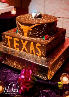 "It's not a true ""Austin"" wedding without a University of Texas Longhorns-themed grooms cake!"