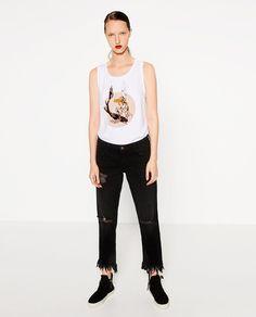 Image 1 of VELVET DETAIL T-SHIRT from Zara