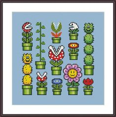 Super Mario Flowers Sampler Cross Stitch Pattern | Craftsy