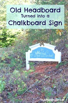 Old Headboard Painted with Chalk board Paint. Exterior headboard sign with house numbers? Old Headboard, Headboards, Refurbished Headboard, Headboard Makeover, Headboard Benches, Outdoor Projects, Home Projects, Dyi, Outdoor Spaces