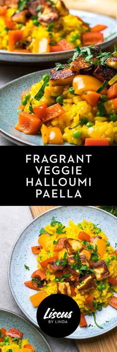 Fragrant Veggie Halloumi Paella Hallumi Recipes, Vegetable Recipes, Cooking Recipes, Healthy Recipes, Vegetarian Recipes Dinner, Vegetarian Cooking, Dinner Recipes, Halloumi, Veggie Delight