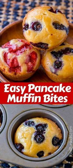 Easy Pancake Muffin Bites that are the perfect breakfast on the go and can be customized with any add-ins you'd like! via (Recipes Easy Pancake) Breakfast And Brunch, Breakfast On The Go, Perfect Breakfast, Breakfast Dishes, Breakfast Recipes, Easy Breakfast Ideas, Easy Breakfast Muffins, Breakfast Ideas For Toddlers, Breakfast Tailgate Food