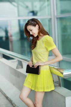 Elegant, Chiffon Dress, Lace dress, Top, Short Sleeve, A-line dress, YRB, 0365, Yellow, blue, Red, pink