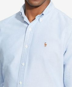Polo Ralph Lauren Men's Classic Fit Long Sleeve Solid Oxford Shirt - Aegean Blue 3XL